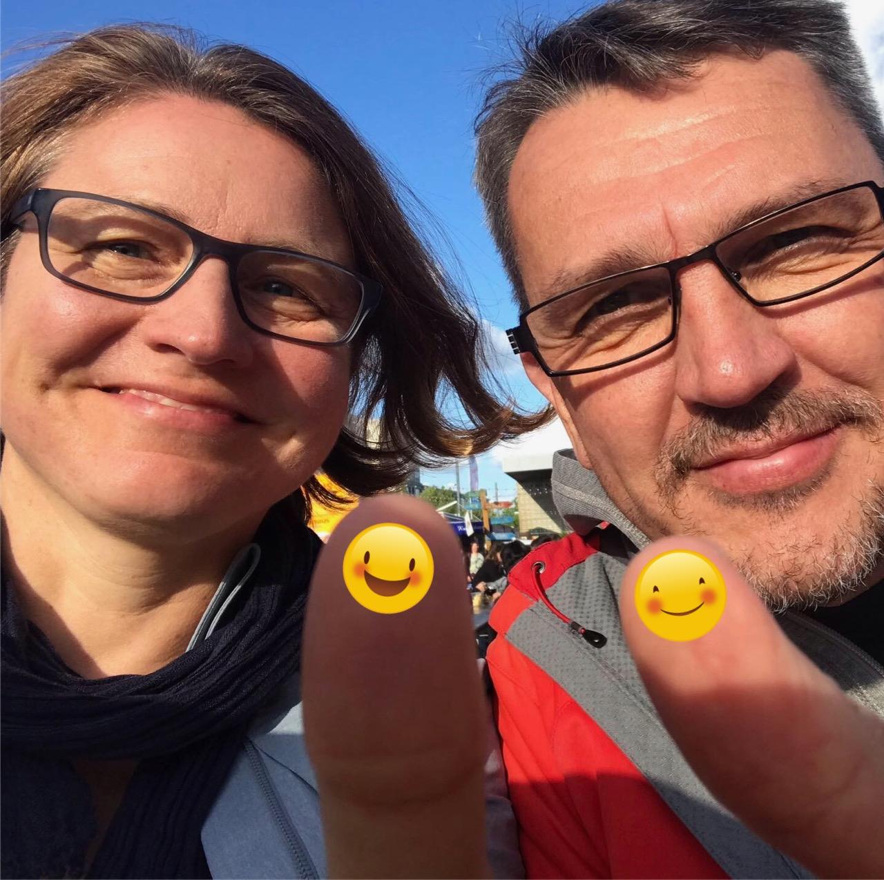 Petra und Uwe glücklich und erleichtert