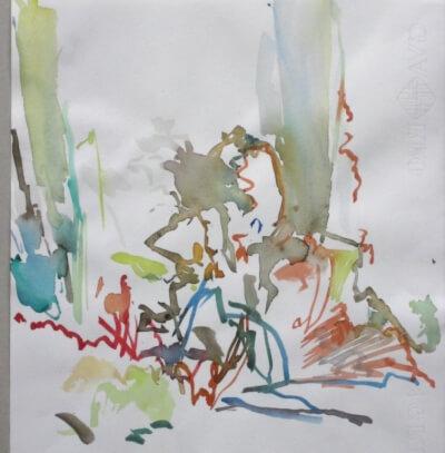 Landschaft, Aquarell auf Ingres-Papier