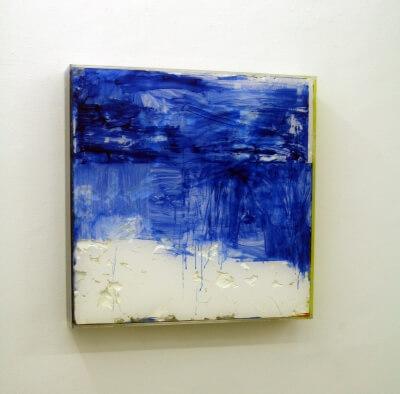 Coag ulo weiss 2 - 2007- Oelfarbe, Plexiglas, Acrylfarbe und Karton, 75 x 75 x 13 cm