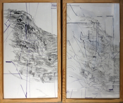 Mountain series, 2012 Kohle, Grafit, Filzstift, Plastikfolie auf Papier.