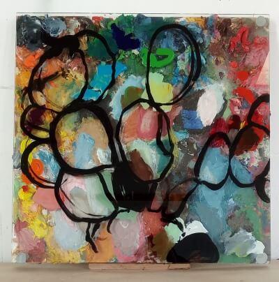 Palette 2019, Presspan,oelfarbe,Glas, 57 x 58 x 6 cm