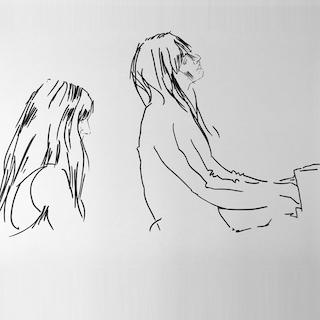 Skizze klavierspielendes Mädchen