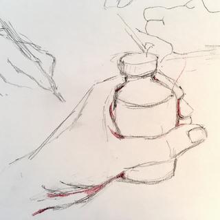 Skizze Glas in der Hand