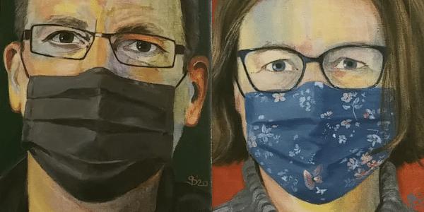 Petra und Uwe mit Nasen-Mund-Schutz